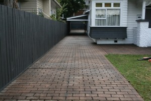 Block paving before colouring